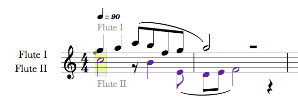 Figure 1: Single stave with 2 instruments associated to voice 1 and 2.