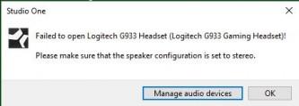 PreSonus Forums | Failed to open Logitech G933 Headset! | Studio One
